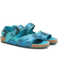 Burberry Prorsum - The Field Fabric And Leather Sandals - Lyst