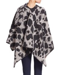 Burberry | Animal Print Wool & Cashmere Cape | Lyst