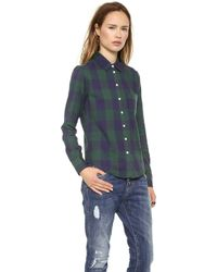Band of Outsiders - Large Square Plaid Easy Shirt - Navy/Green - Lyst
