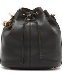 Alexander McQueen Black Leather Padlock Bucket Bag - Lyst