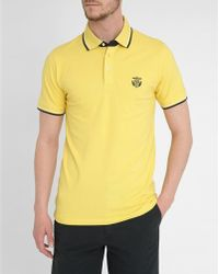 Selected Yellow Embroidered Crest Short-Sleeve Polo Shirt - Lyst