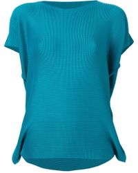Issey Miyake Pleated Boat Neck Top - Lyst
