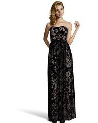 Erin Erin Fetherston Black Floral Devore Velvet 'Gemma' Sweetheart Gown - Lyst