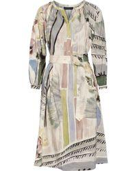 Burberry Prorsum - Printed Linen And Silk-Blend Midi Dress - Lyst