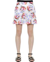 Emanuel Ungaro Floral Printed Silk Twill Skirt - Lyst