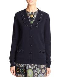 Marc Jacobs Wool & Cashmere Embellished Cardigan black - Lyst