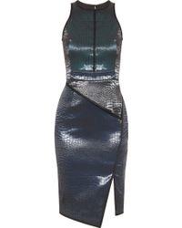 Jonathan Simkhai Angled Peplum Croc Dress - Lyst
