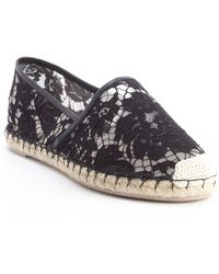 Valentino Black Mesh Embroidered Canvas Espadrilles Flats - Lyst