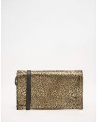 Pieces   Metallic Clutch Bag   Lyst