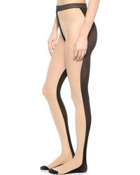 Alice + Olivia - Alice + Olivia Front & Back Tights - Nude/Black - Lyst