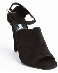Prada Black Suede Open Toe Anklestrap Pumps - Lyst