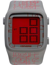 Converse - Unisex Digital Scoreboard Printed Logo Gray Silicone Strap 43mm Vr002065 - Lyst