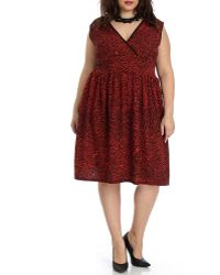 Blue Plate - Women's Black & Red Surplice Dress - Lyst