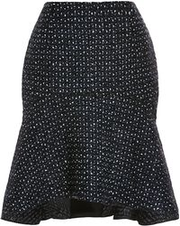 Nina Ricci Ruffle-Trimmed Dot Print Dress black - Lyst