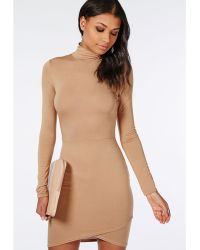 Missguided High Neck Wrap Hem Jersey Bodycon Dress Camel - Lyst
