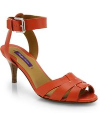 Ralph Lauren Collection Hartley Ankle-Strap Leather Sandals - Lyst