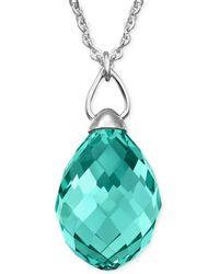 Swarovski Rhodiumplated Antique Green Crystal Teardrop Pendant Necklace - Lyst