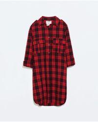 Zara Check Dress - Lyst
