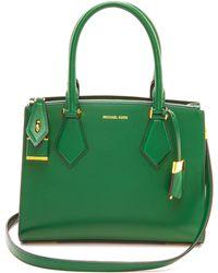 Michael Kors Collection Casey Medium Satchel Dark Emerald - Lyst
