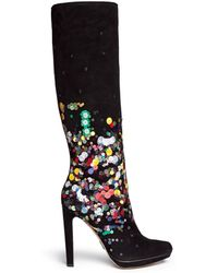 Paul Andrew 'Greenwich Evening' Paillette Suede Platform Boots black - Lyst
