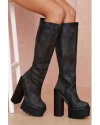 Nasty Gal Jeffrey Campbell Mudler Leather Knee-high Boot - Lyst