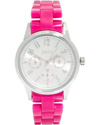 Oasis - Ladies Pink Plastic Strap Watch with Round Face - Lyst