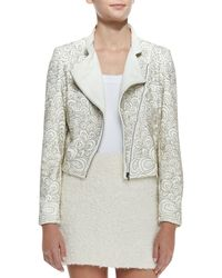 Alice + Olivia Jace Beaded Quilted Leather Moto Jacket - Lyst