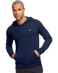Lacoste Hooded Long Sleeved Tshirt - Lyst