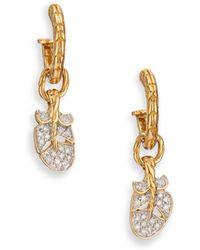 John Hardy | Classic Chain Diamond & 18k Yellow Gold Feather Charm Huggie Hoop Earrings | Lyst
