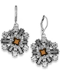Kate Spade Silver-tone Stone and Crystal Cluster Leverback Earrings - Lyst