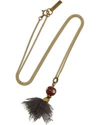Isabel Marant Panarea Brass Bone and Silk Necklace - Lyst