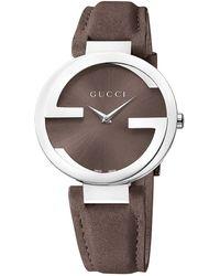Gucci Ladies Interlocking Silvertone Brown Watch - Lyst