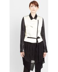 Ann Demeulemeester Layered Mixed Media Long Jacket - Lyst