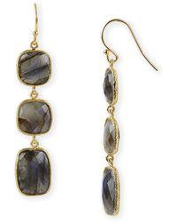 Argento Vivo 3 Stone Linear Earrings - Lyst