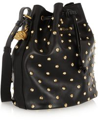 Alexander McQueen Padlock Secchiello Studded Leather Shoulder Bag - Lyst