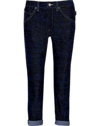 Etoile Isabel Marant Iceo Tiger-print Velvet Slim Boyfriend Jeans - Lyst