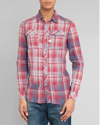 G-Star RAW Landoh Red And Blue Checked Shirt With Patch Pocket - Lyst