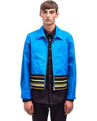 Raf Simons Sterling Ruby Mens Cropped Blouson Jacket with Striped Rib - Lyst