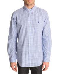 Polo Ralph Lauren Blue Checked Custom Fit Shirt - Lyst