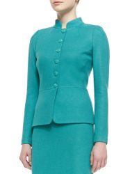 St. John Collection Sheen Dash Knit Mandarin Collar Peplum Jacket - Lyst