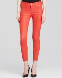 J Brand Leather Pants - Dark Coral Mid-Rise Crop - Lyst