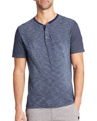 Madison Supply Pinstriped Henley Tee blue - Lyst