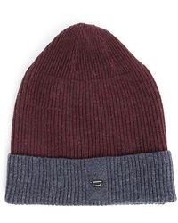 DIESEL | Burgundy And Grey Two-tone Senta B Knit Hat | Lyst
