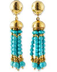 Jose & Maria Barrera | Clip-on Turquoise Beaded Tassel Earrings | Lyst