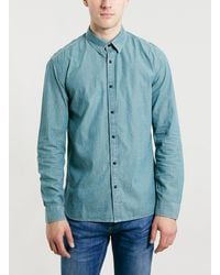 Topman Selected Homme Blue Long Sleeve Shirt - Lyst