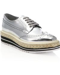 Prada | Metallic Leather Creeper Brogue Espadrilles | Lyst