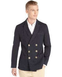 Giorgio Armani Navy Blue Pique Cotton Double Breasted Cotton Jacket - Lyst