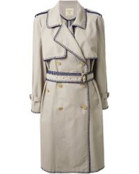 Fad Three - Contrast Stitching Trench Coat - Lyst