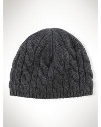 Ralph Lauren Cable-Knit Cotton Skull Cap - Lyst