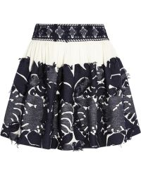 Chloé Frayed Jacquard And Crepe Mini Skirt - Lyst
